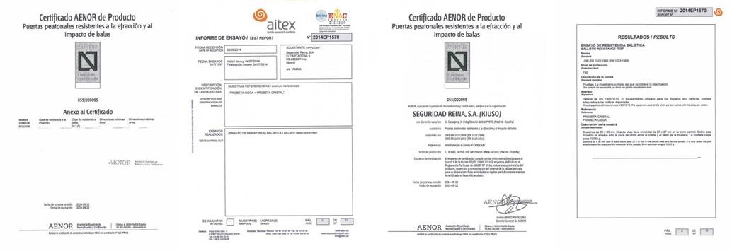 certificados puertas antibalas